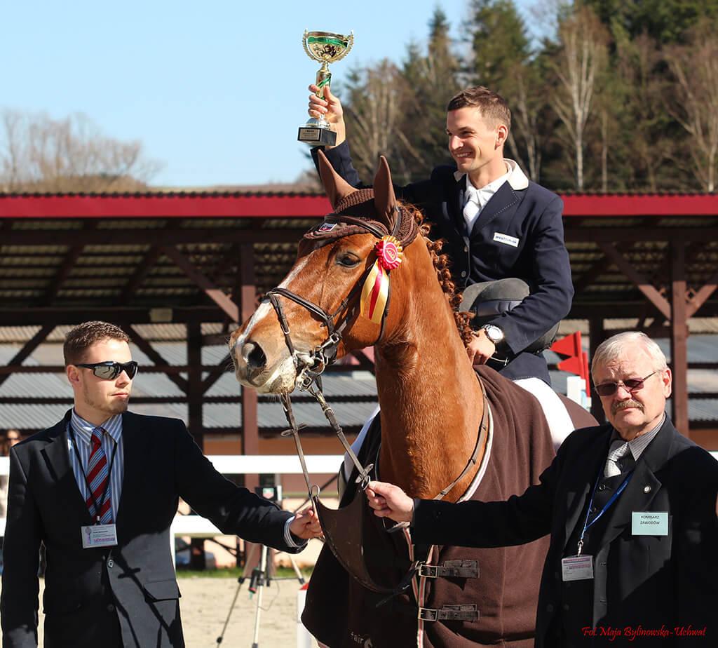 Zwycięzca zawodów jeździeckich na koniu z pucharem