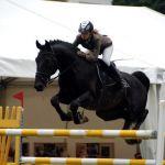 Skok na koniu przez przeszkodę
